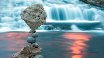 Big and small stones stacked and balancing