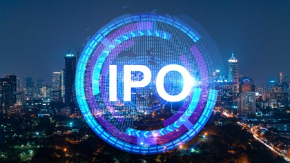 IPO hologram infront of the night cityscape of Hong Kong