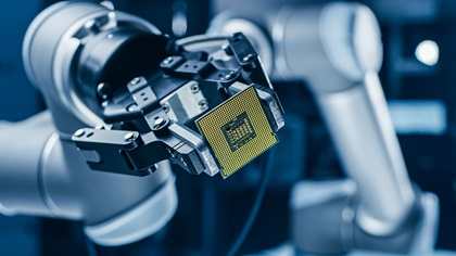 Robot in factory making chips