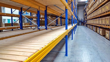 Empty shelves in a warehouse