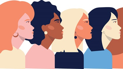 vector image of female faces