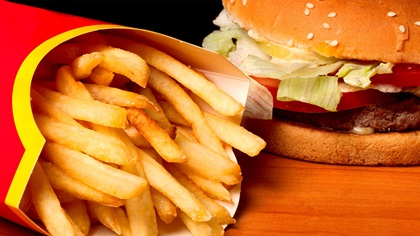 Fast food chips and burger