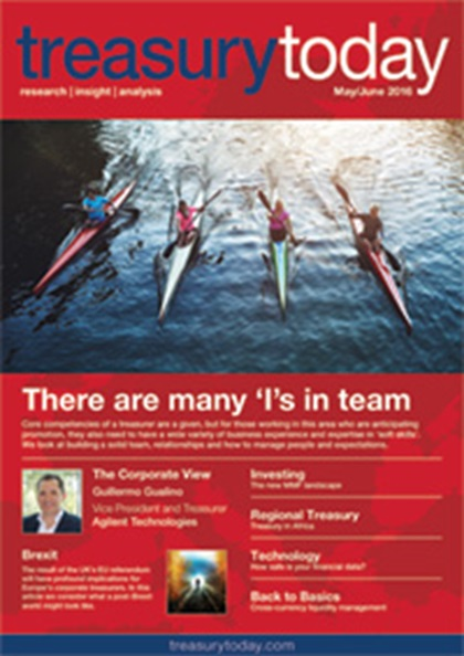 Treasury Today May/June 2016 magazine cover