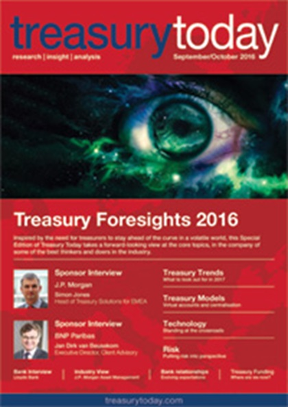 Treasury Today September/October 2016 magazine cover