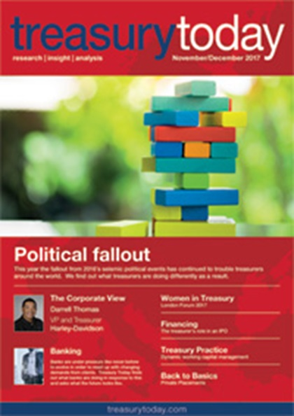 Treasury Today November/December 2017 magazine cover