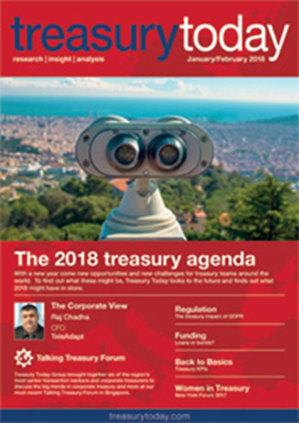 Treasury Today January/February 2018 magazine cover