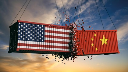 Two containers hitting each other. One symbolises the US and the other China