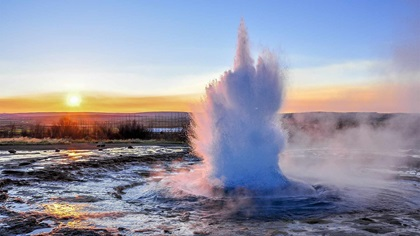 Water busting in the morning in Iceland