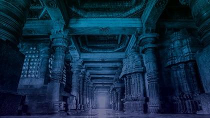 Columns Empty Corridor