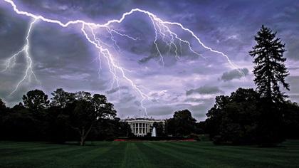 Lighting over The White House, Washington