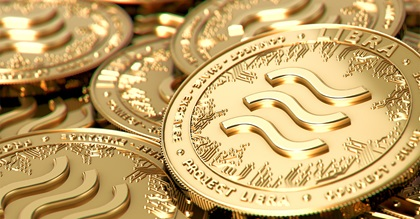 Stack of golden Libra cryptocurrency coins