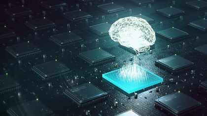 Digital brain coming out of microchip, illustration of machine learning and artifical intelligence