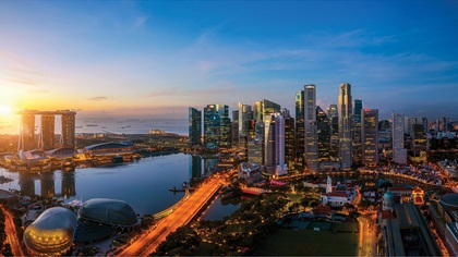 Singapore city at sunrise