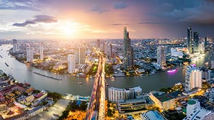 Serial view Bangkok skyline
