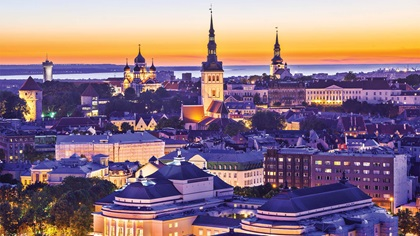 Skyline of Tallinn in Estonia at sunset