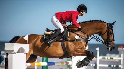 Horse and rider jumping fence in competition