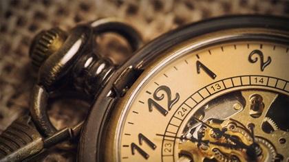 Close up of old vintage pocket watch
