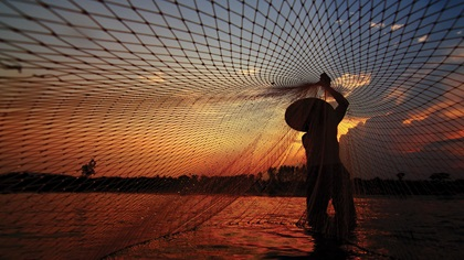 Person casting a net