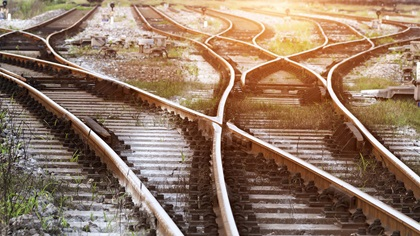 Bunch of railway tracks leading to different routes