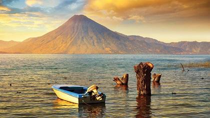Beautiful sunset over lake Atitlan near the volcano