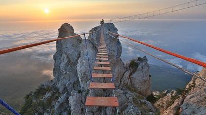 Suspension bridge in the mountains