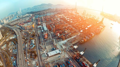 Aerial shot of container terminal