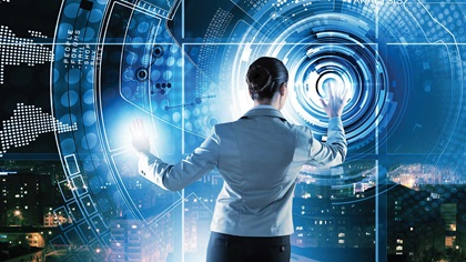 Business person using futuristic technology