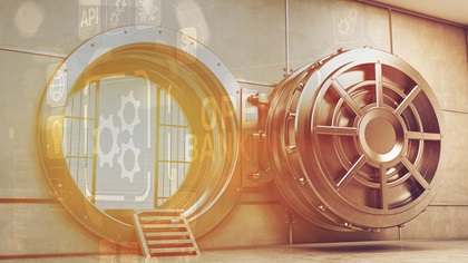 Open bank vault with API graphics overlayed