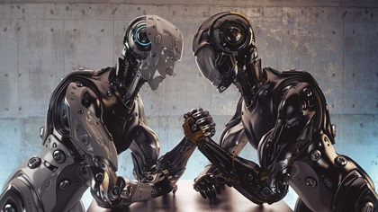 Two robots having an arm wrestle