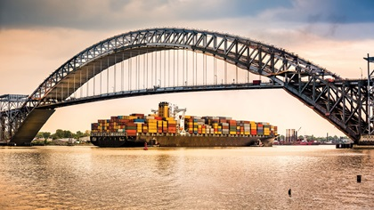 Container ship passing under bridge