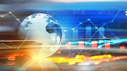 Digital background of globe and charts