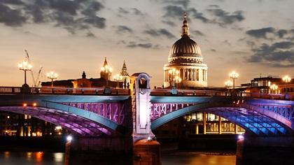 London cityscape in sunset