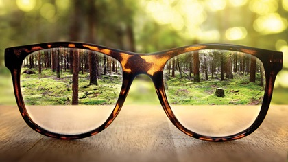 Looking through a pair of glasses revealing a clear view of a forest