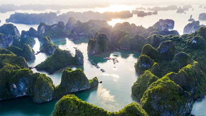Aerial view of Vung Vieng floating fishing village in Vietnam