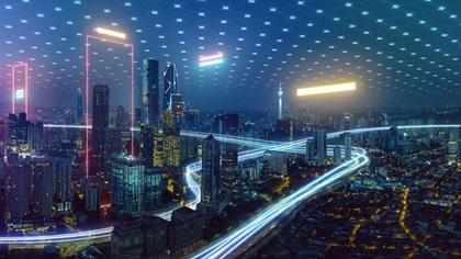 A digital blue image of a city