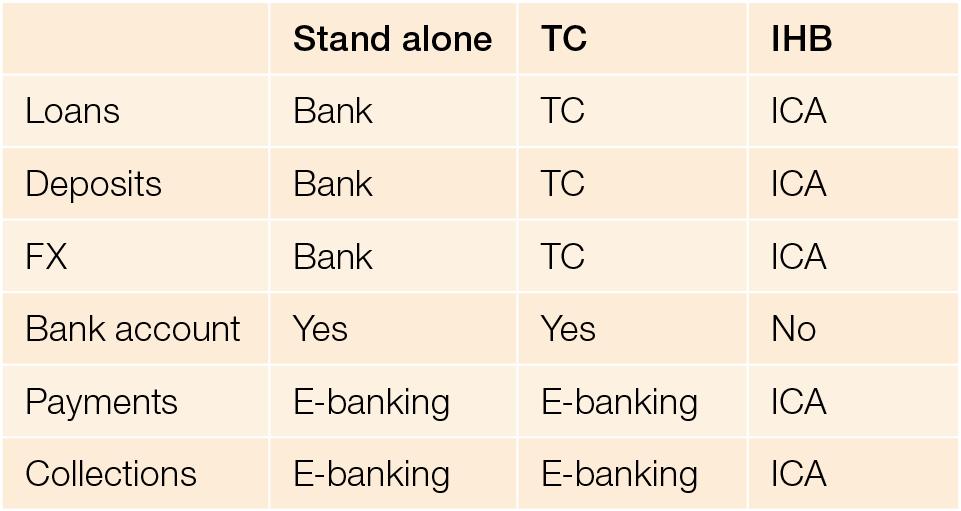 operating subsidiary processes standalone vs treasury centre vs IHB