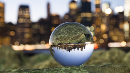 Crystal ball reflecting Manhattan