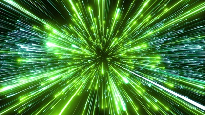 Glowing green fibre lines