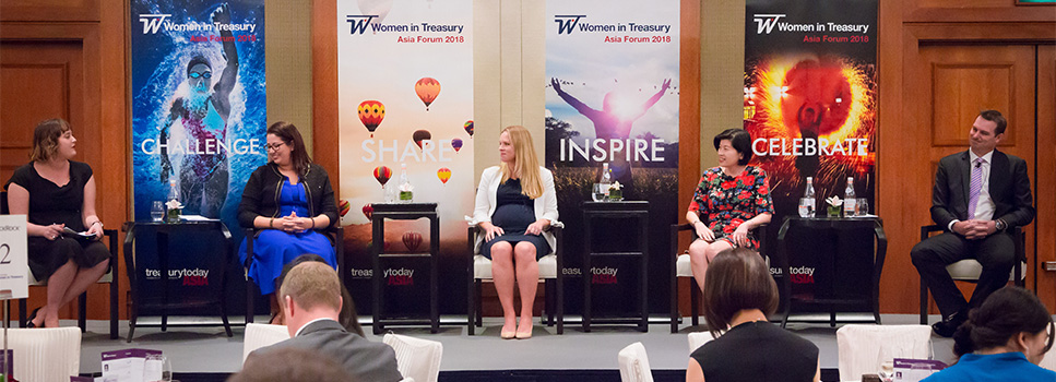 Women in Treasury Singapore Forum 2018 group photo of panellists on stage