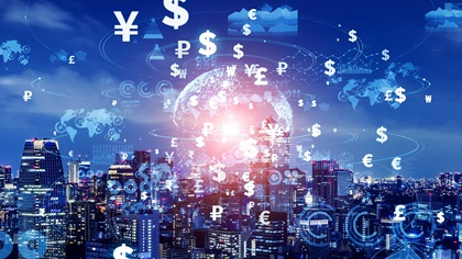 Crypto currency picture of city, world