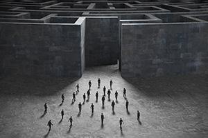 People entering mysterious concrete maze