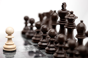 Single pawn staying against full set of chess pieces