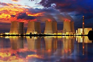 Power station with fiery sky