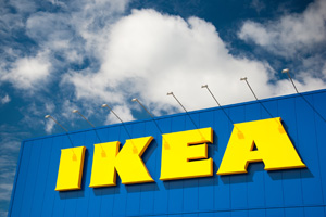 Ikea sign on the side of shop building