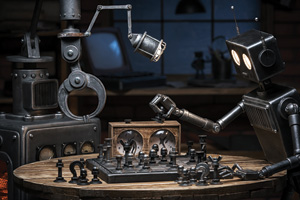 Two robots playing a game of chess