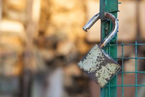 Unlocked padlock on gate