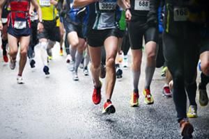 Marathon runners competing