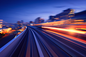 Subway tunnel with motion blur of a city from inside monorail