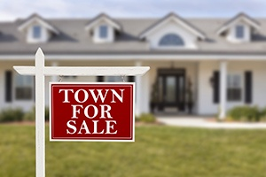 Town for sale sign