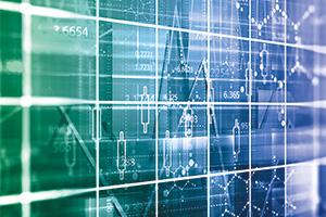 Financial data on monitor, multiple data overlapped